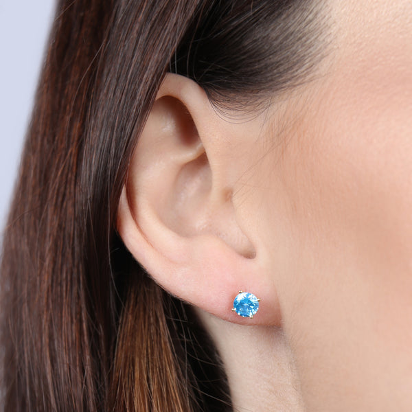 Birthstone Round Earrings - March (Aquamarine Colored CZ)