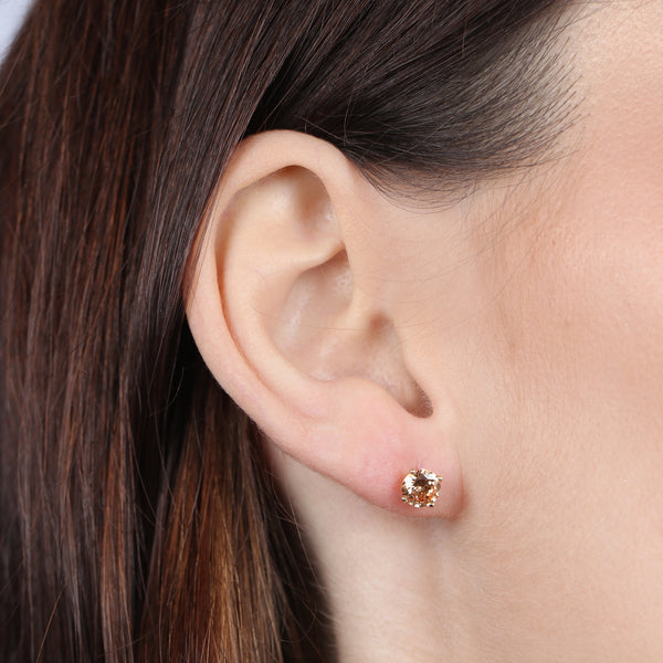 Birthstone Round Earrings - November (Citrine Colored CZ)