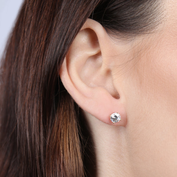 Birthstone Round Earrings - April (Clear Cubic Zirconia)