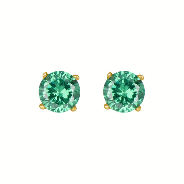 Birthstone Round Earrings - May (Emerald Colored CZ)