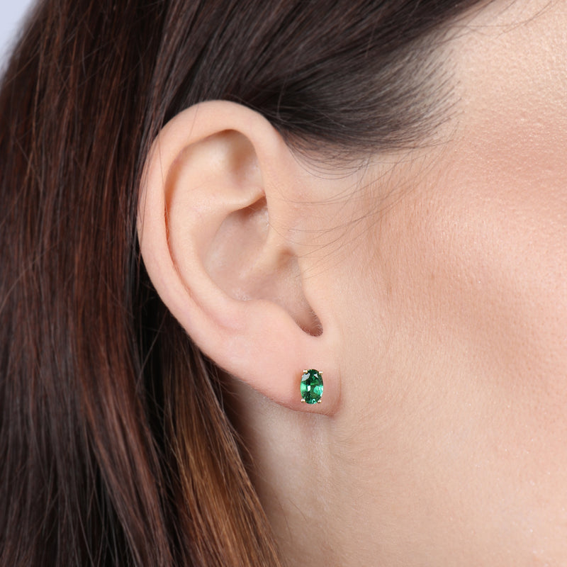 Birthstone Oval Earrings - May (Emerald Colored CZ)