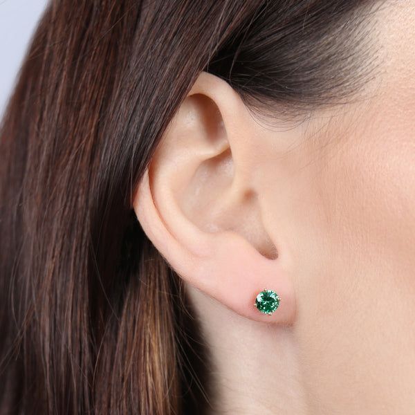 Emerald Round Earrings