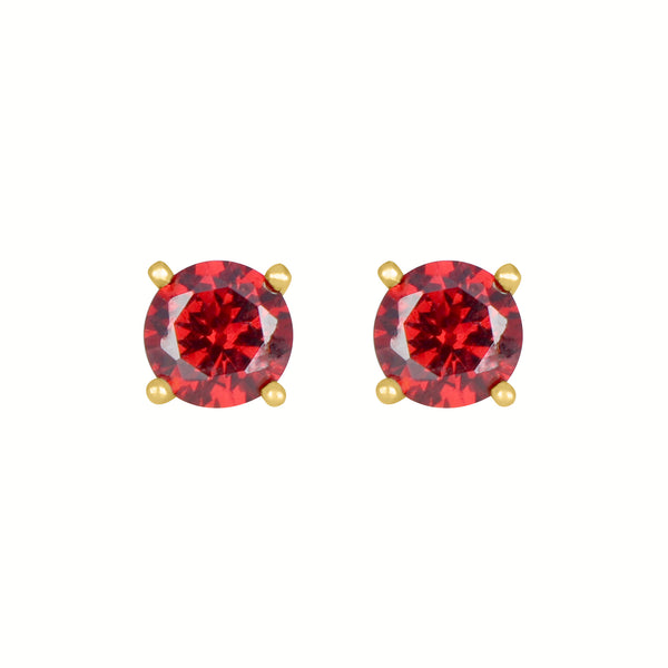 Garnet Round Earrings