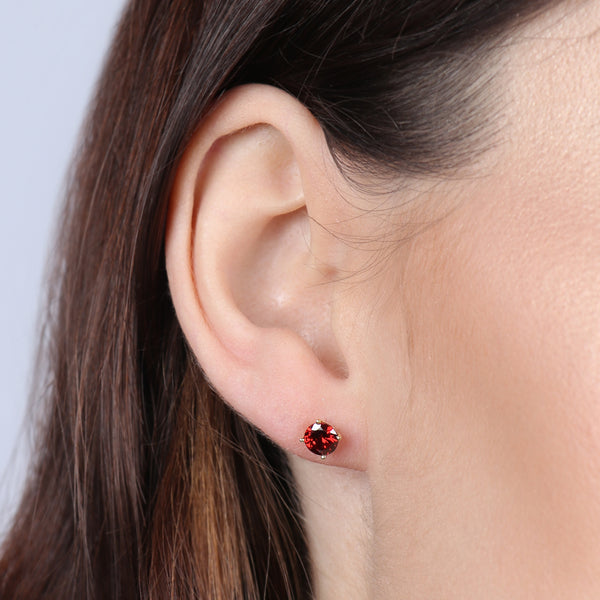 Birthstone Round Earrings - January (Garnet Colored CZ)