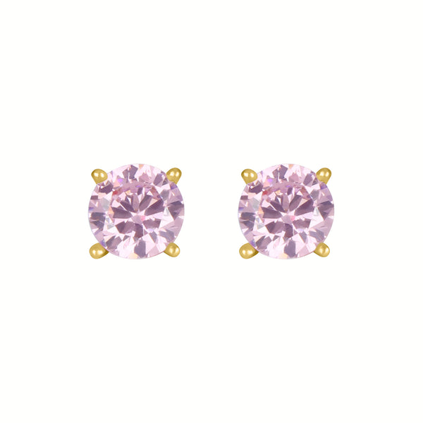 Birthstone Round Earrings - October (Tourmaline Colored CZ)