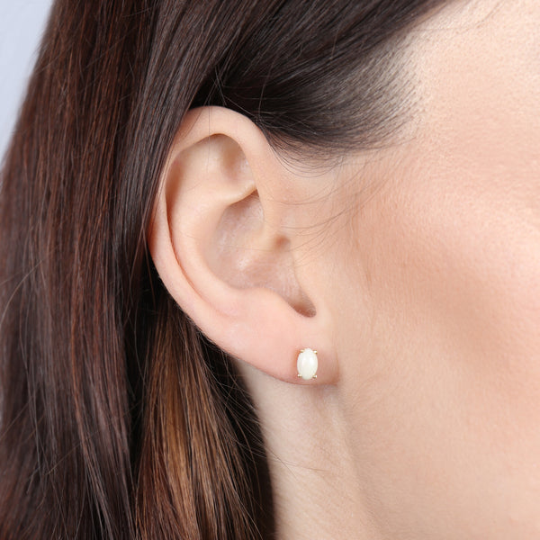 Birthstone Oval Earrings - June (Synthetic Pearl)