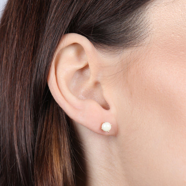 Birthstone Round Earrings - June (Synthetic Pearl)