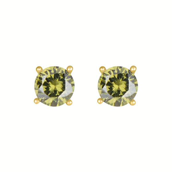 Birthstone Round Earrings - August (Peridot Colored CZ)