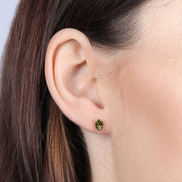 Birthstone Oval Earrings- August (Peridot Colored CZ)