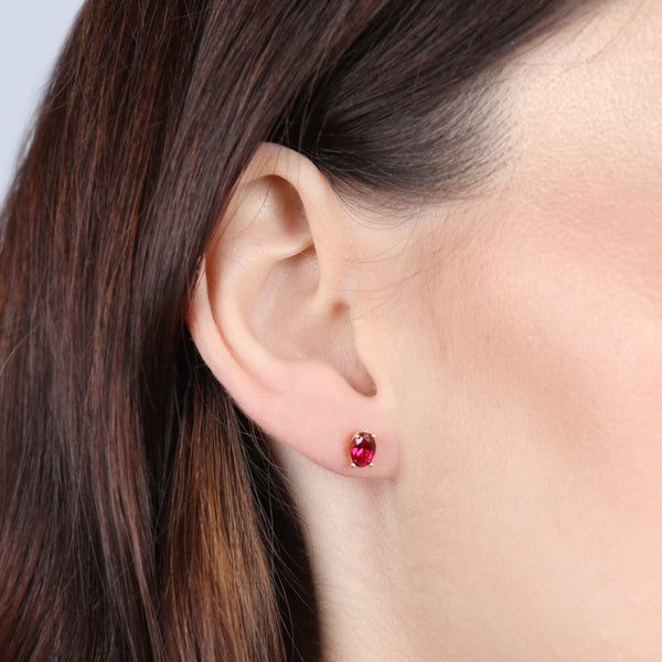 Birthstone Oval Earrings - July (Ruby Colored CZ)