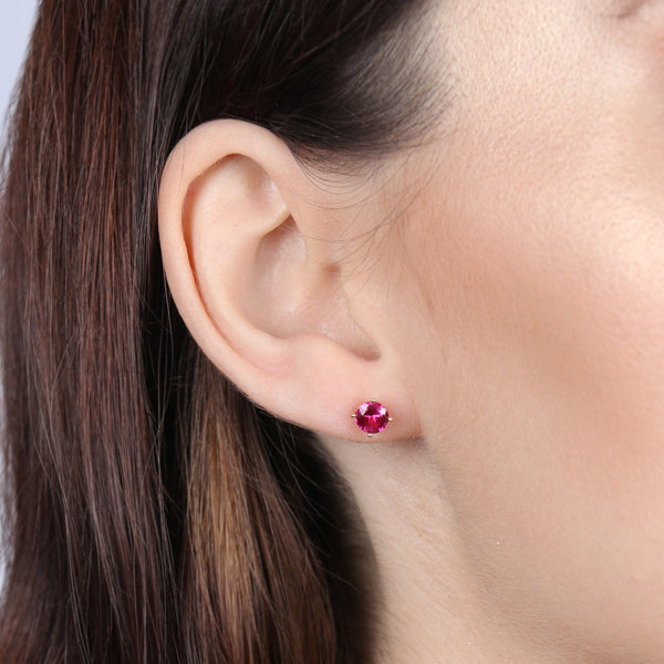 Birthstone Round Earrings - July (Ruby Colored CZ)