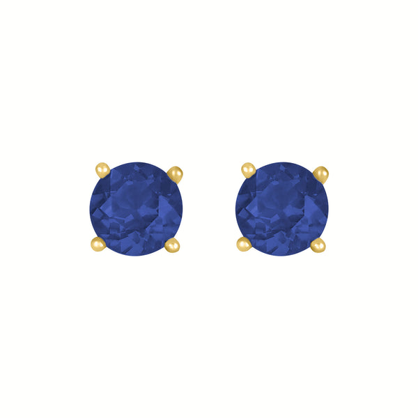 Birthstone Round Earrings - September (Sapphire Colored CZ)