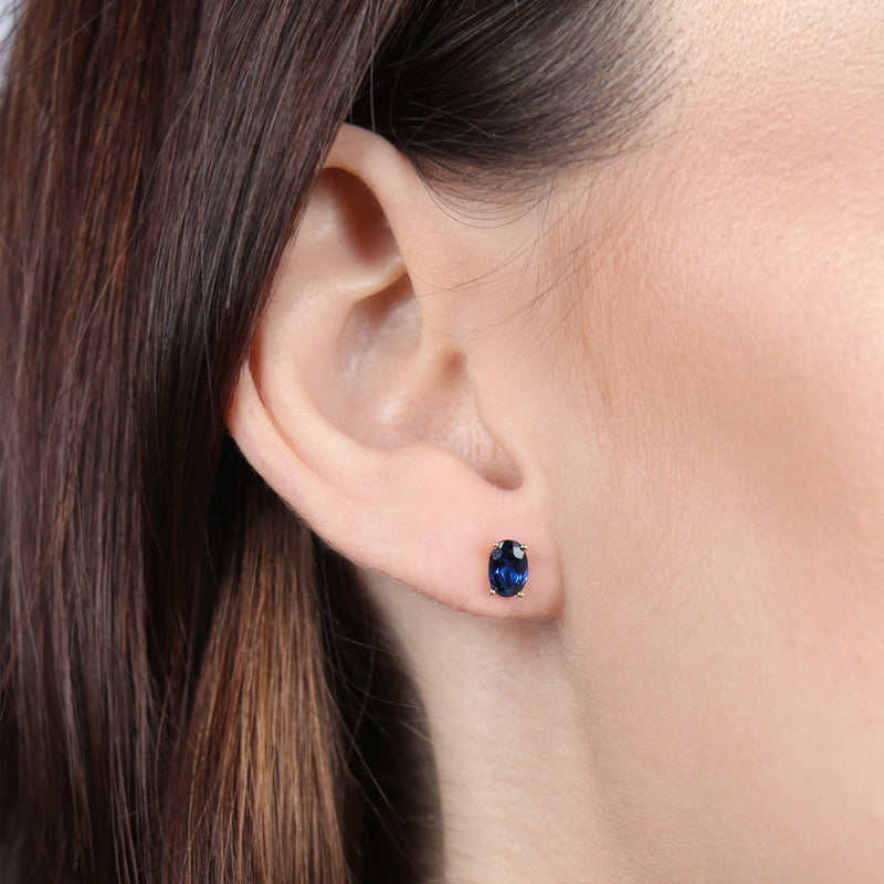 Birthstone Oval Earrings - September (Blue Sapphire Colored CZ)