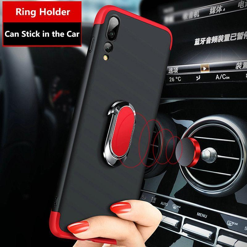 3 in 1 Double Dip 360° Full Body PC Protective Case with Ring Holder for Huawei P20/P20 Pro/P20 Lite