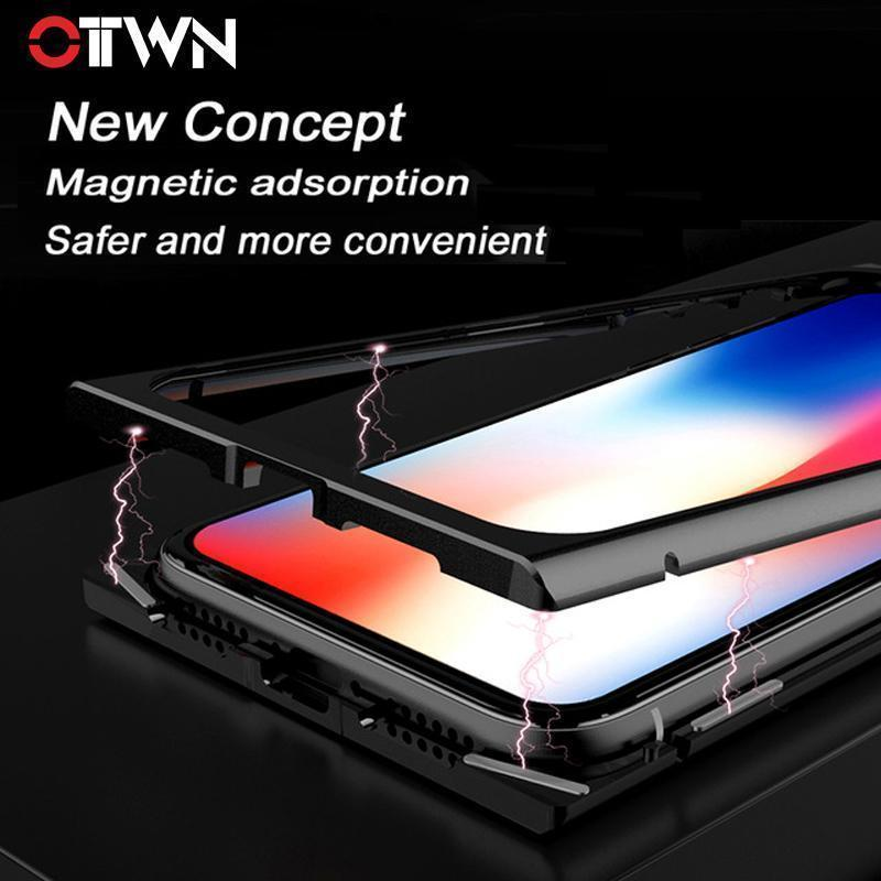 Square Magnetic Adsorption Case for iPhone 7 7Plus 8 8Plus X