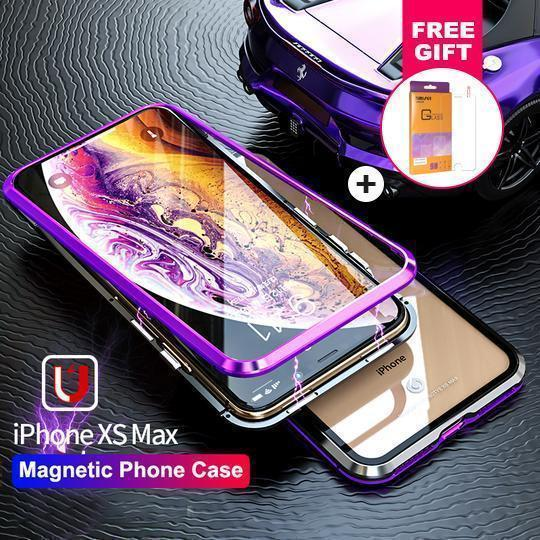 28d803e8566 METAL MAGNETIC FRAME Glass Protective Case With FREE Glass Screen Prot –  Airctoys