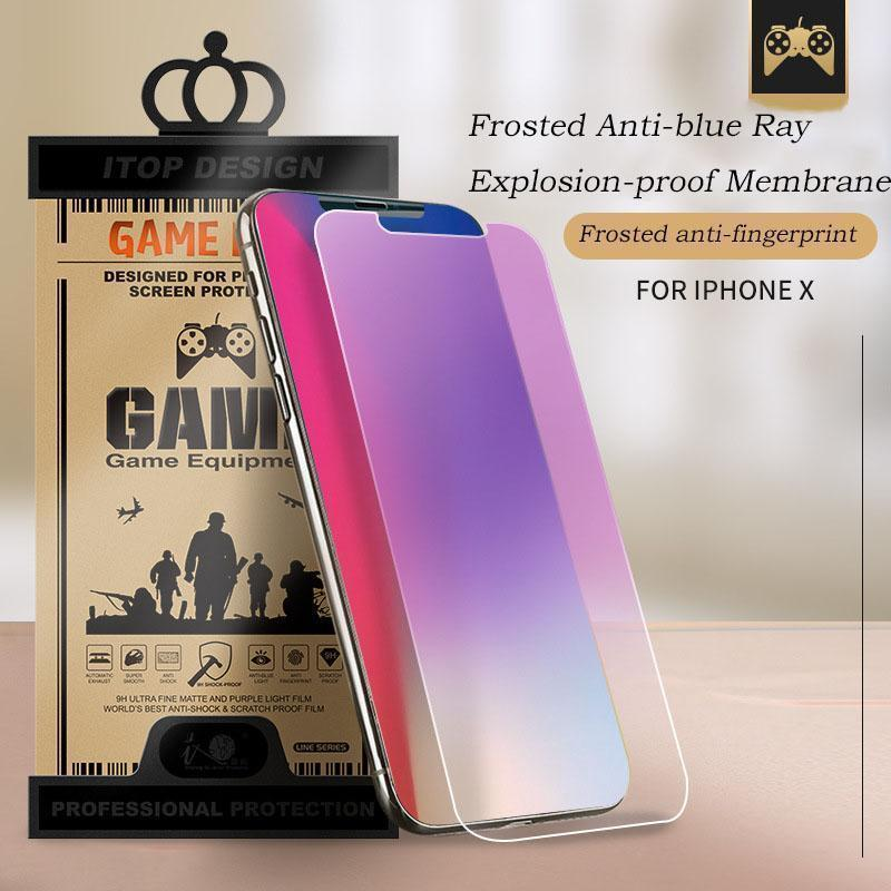 2 in 1 Tempered Glass+Lens Post for iPhone Frosted Anti-blue Ray Tempered Glass for iPhone X/XS/XS Max/XR/8/7/6/6s Screen Protective