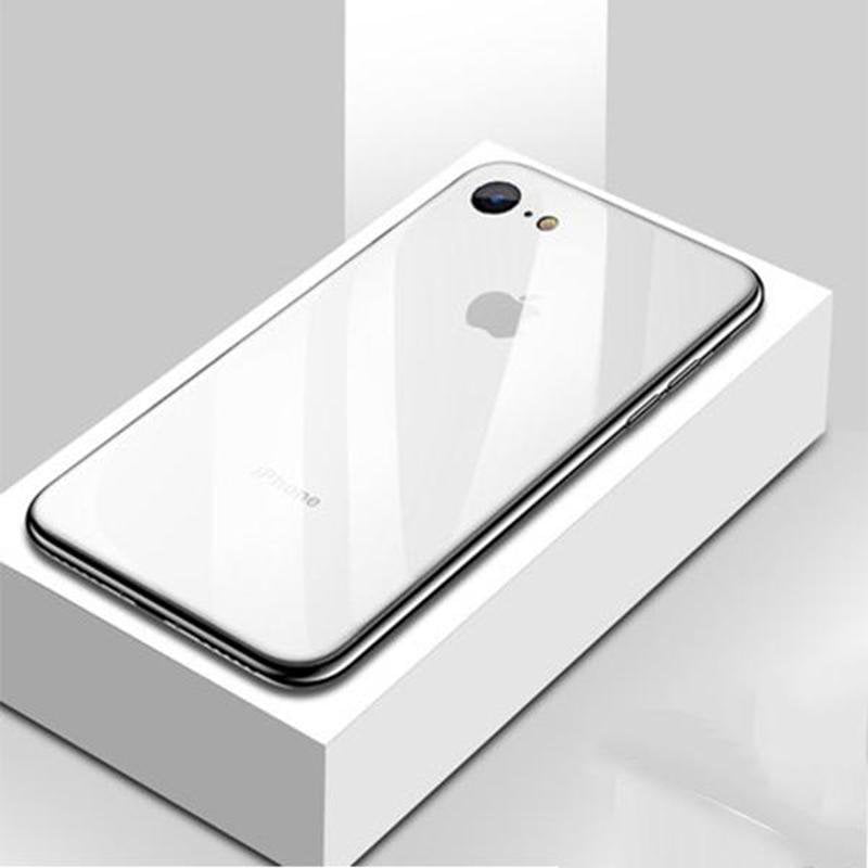 Luxury Tempered Glass Back Cover Soft TPU Edge Case With Logo Shockproof Bumper for iPhone 6/6s/6PLUS/6sPLUS