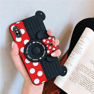 Minnie Mickey Camera Creative Silicone Lanyard Phone Case for iPhone 6/6s 6P/6SP 7/8 7Plus/8 Plus X/XS XR XS Max