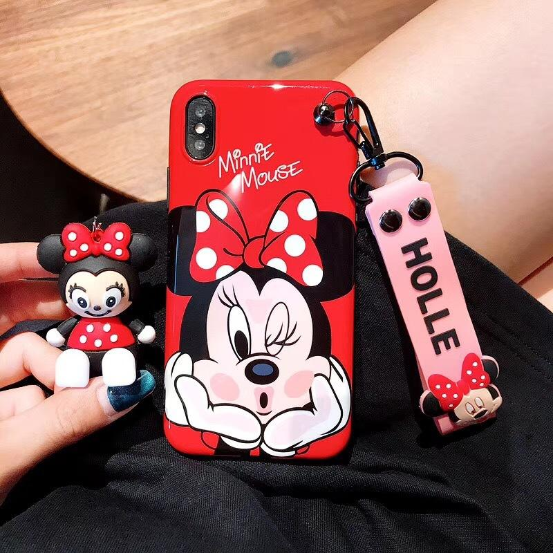 Mickey Minnie Hand Strap Cartoon Stand Silicone Phone Case for iPhone 6/6s 6P/6sp 7/8 7/8 Plus X XS XR XS Max