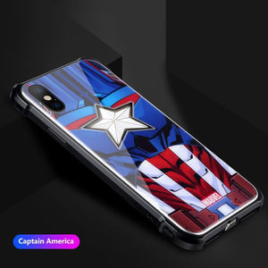 Marvel Avengers Metal Frame Light Phone Case for Apple iPhone 6/6Plus 7/8 7Plus/8Plus X/XS XR/XS Max