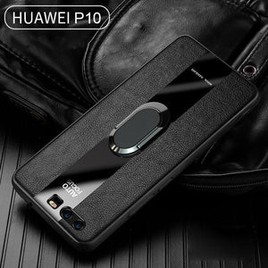 Leather Silicon Ring Holder Phone Case for Huawei P10 P10 Plus