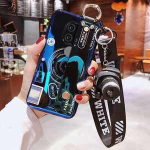 Camera Phone Holder Stand Case Blu-ray Wristband Phone Case Soft TPU Silicone Cover for Huawei Mate 20 Mate20 Pro Mate20 Lite