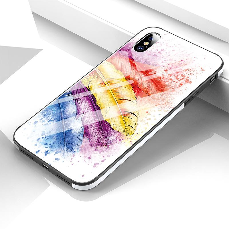 3D Tempered Glass Oil Painting All-inclusive Female Phone Case for iPhone 7/8 7P/8P X/XS
