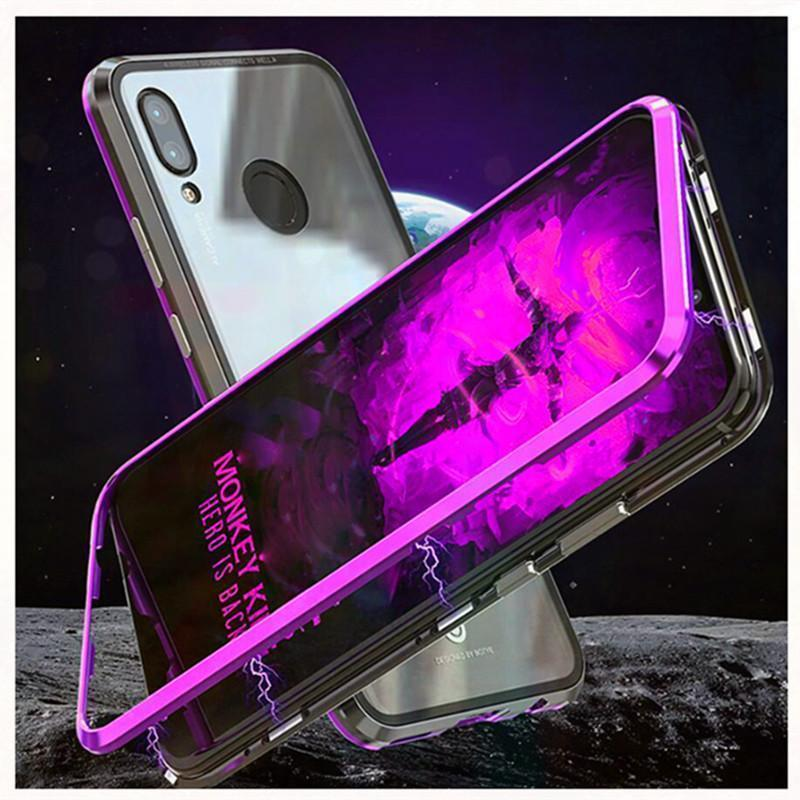 Magnetic Adsorption Transparent Tempered Glass Phone Case For Coque Huawei Nova 3i P20Lite