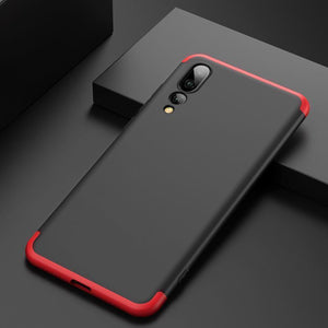 3 in 1 Double Dip 360° Degree Full Protection Hard PC Matte Coque Cover With Tempered Glass Film for HUAWEI P20 Pro