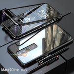 Luxury Hard Magnetic Metal Aluminum Alloy Transparent Glass Armor Protect Phone Case for HUAWEI Mate20Lite