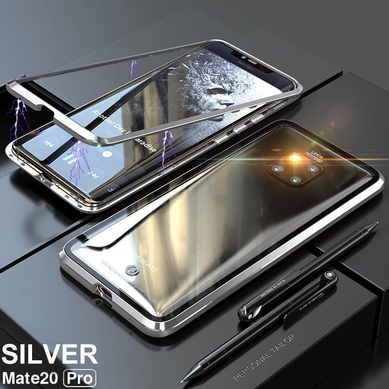Huawei Mate Case Luxury Hard Magnetic Metal Aluminum Alloy Transparent Glass Armor Protect Phone Case for HUAWEI Mate20/Mate20Pro/Mate20X/Mate20Lite Cover