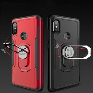 Shockproof Ring Armor Hard PC Case 2 in 1 Magnetic Bracket Phone Case for Xiaomi Redmi Note6 Pro/A2Lite