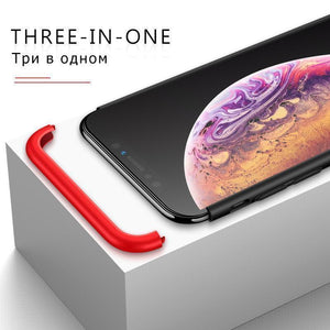 3 in 1 Double Dip 360° Degree Full Protection Hard PC Matte Coque Cover With Tempered Glass Film for iPhone XS/XS Max iPhone XR