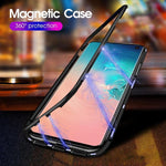 Original Magnetic Adsorption Transparent Tempered Glass Phone Case for Samsung S10 S10 Plus S10e