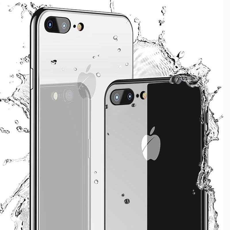 Luxury Tempered Glass Back Cover Soft TPU Edge Case With Logo Shockproof Bumper for iPhone 7/8/7PLUS/8PLUS