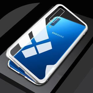 Samsung Metal Magnetic Adsorption Frame Clear Tempered Glass Phone Cases for A7(2018) J4 J6 J8 A9(2018)