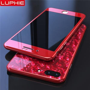 Magnetic Shell Pattern Glossy PC Tempered Glass 360 Full Protective Case Cover For iPhone X/7P/8P//7/8/6/6s/6P/6sP