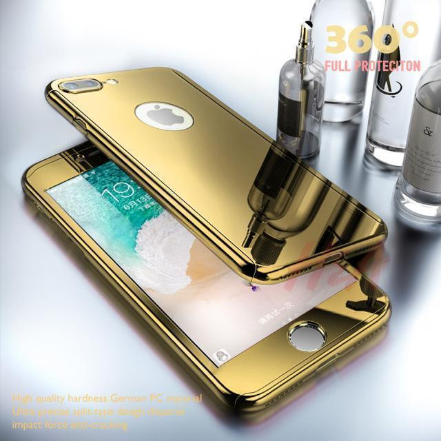 Luxury plated mirror phone case for iPhone 6 7 8 6s Plus full protective case