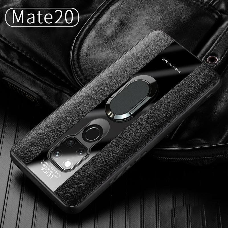 Leather Silicon Ring Holder Phone Case for  Huawei Mate 10 Lite Nova3 Mate 10 Pro P20 P20 Pro Mate20/Mate20 Pro