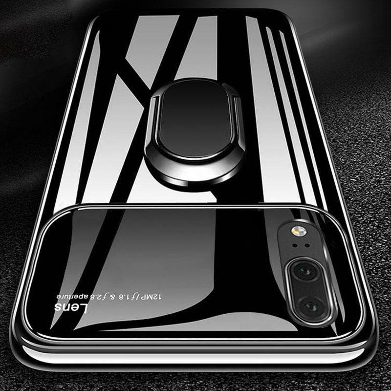 360º Rotation Ring Grip Kickstand Tempered Glass Lens Protection PC Protective Case with Ring Holder For Huawei P20 Pro Lite