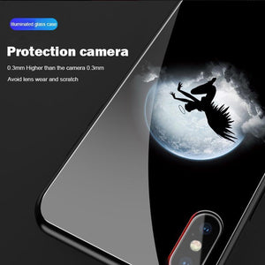 Apple x mobile phone shell luminous glass ultra-thin silicone all-inclusive anti-fall sleeve For iPhoneX/XS/XR/Max/8/7/6/6s/P