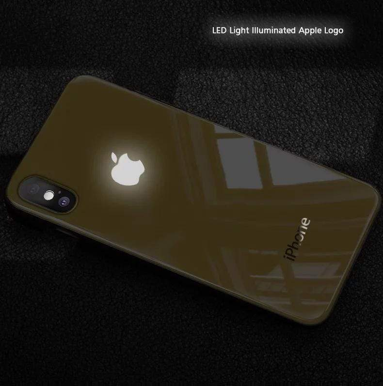 finest selection 5afcf 33c6f LED Light Illuminated Apple Logo 3D Designer Glass Case Back Cover For  iPhone X/XS/XR/XS MAX