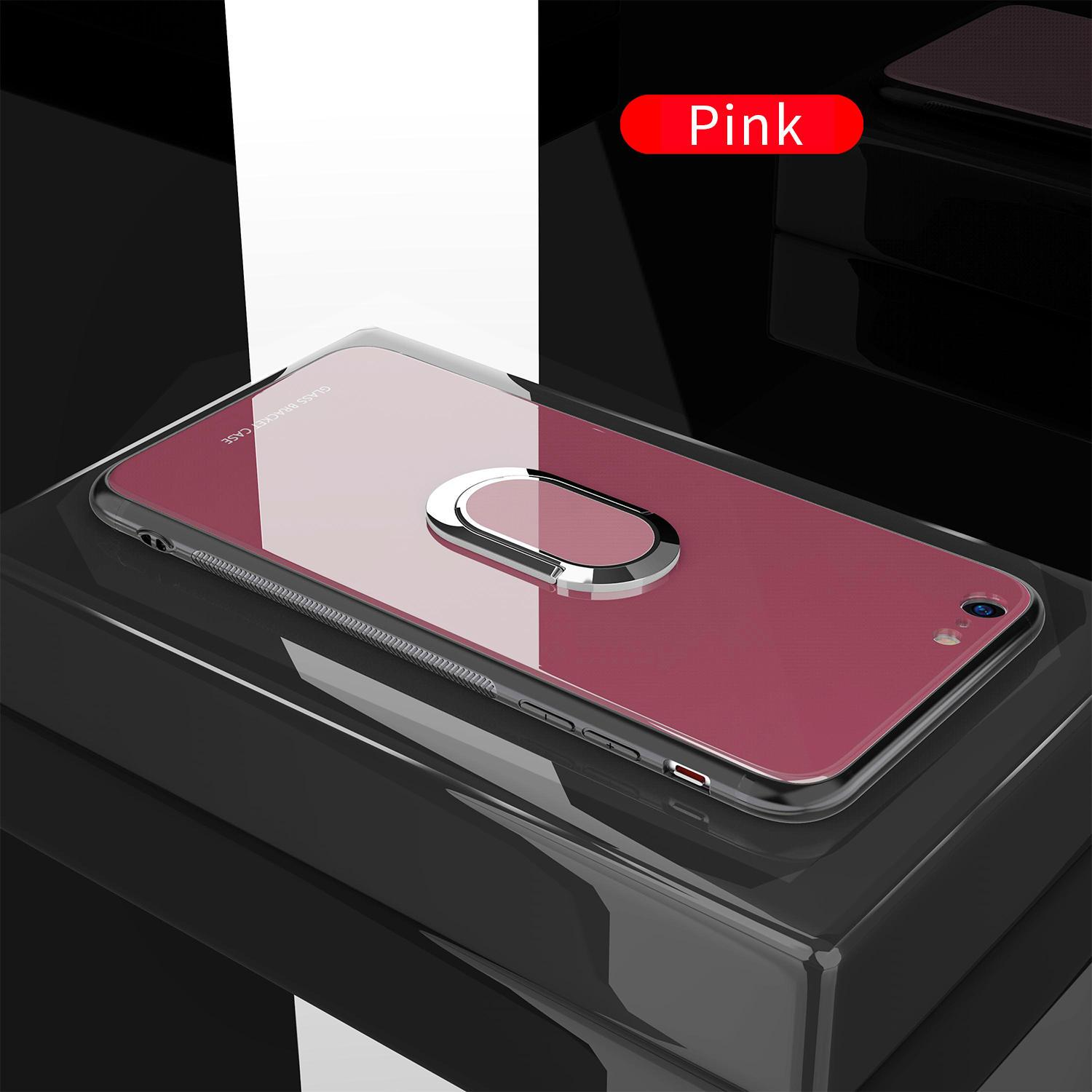 Glass 360° Rotation Ring Kickstand Magnetic Protective Case for iPhone 6/6s 6P/6SP 7/8 7/8 Plus X XS XR XS Max