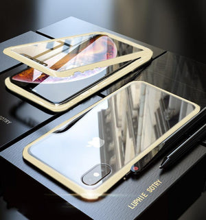 Original Magnetic Adsorption Transparent Tempered Glass Two side Glass Cover Phone Case For iPhone X XS MAX 7 8 Plus