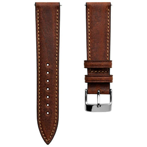 Klockarmband - Contoured Handmade Shorter Length - Light Brown - ROYAL STRAPS