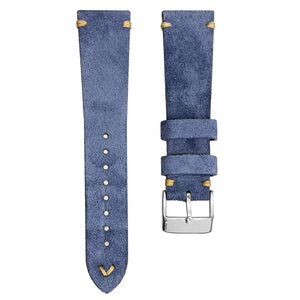 KLOCKARMBAND - GECKOTA ITALIAN SUEDE LEATHER - BLUE - ROYAL STRAPS