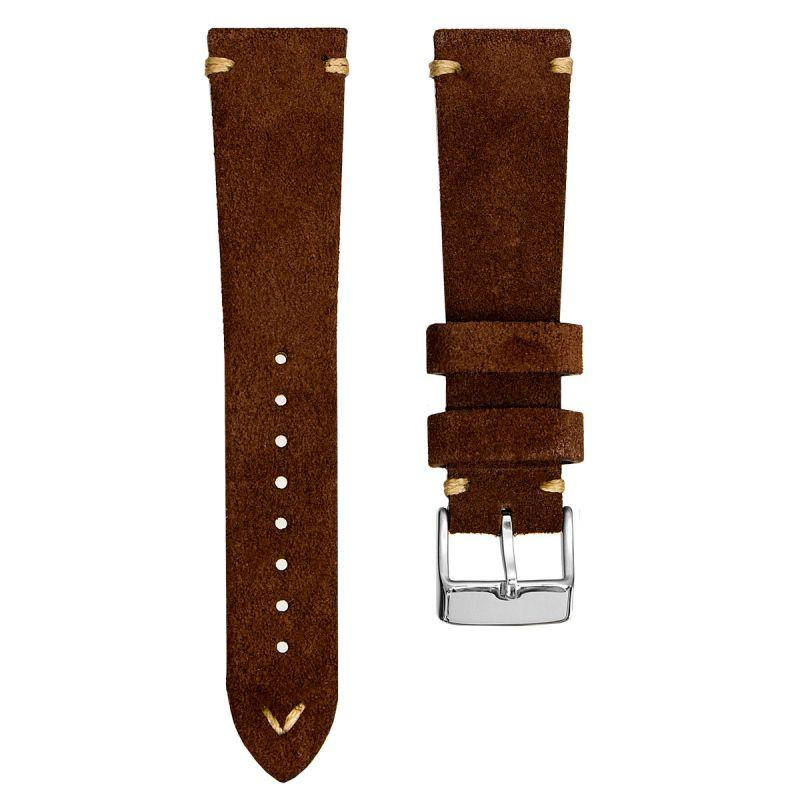 KLOCKARMBAND - GECKOTA ITALIAN SUEDE LEATHER - BROWN - ROYAL STRAPS