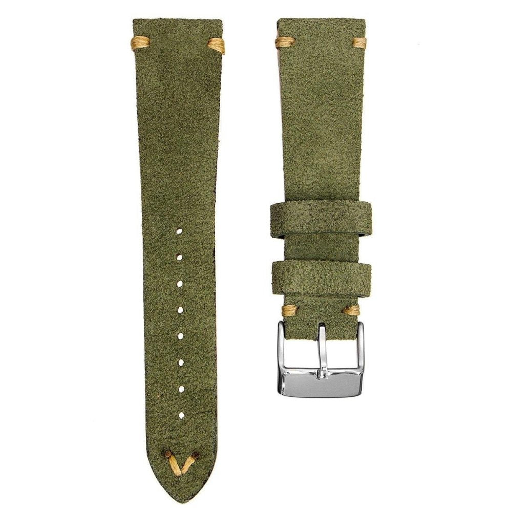 KLOCKARMBAND - GECKOTA ITALIAN SUEDE LEATHER - GREEN - ROYAL STRAPS