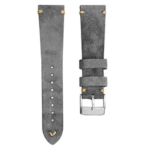 KLOCKARMBAND - GECKOTA ITALIAN SUEDE LEATHER - GREY - ROYAL STRAPS